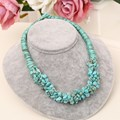Bohemia Female Fashion Jewelry Handmade Cotton Rope Chain Natural Stone Turquoise Statement Choker Necklaces Women Gifts Ethnic