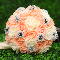 Artificial Bouquet Wedding Bride Holding Bouquet Silk Bridesmaid Hand Flower Rose Brooch Decoration Gelin Buketi Ramos De Novia