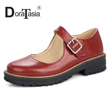 DoraTasia 2017 New Fashion Mary Janes Buckle Strap Woman Shoes Casual Pumps Big Size 34-43 Girls Ladies Shopping Shoes