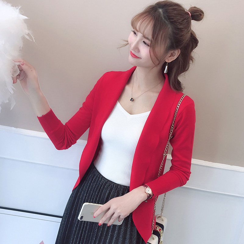 7741 2018 Cardigan female real color new pure color knit cardigan coat 28