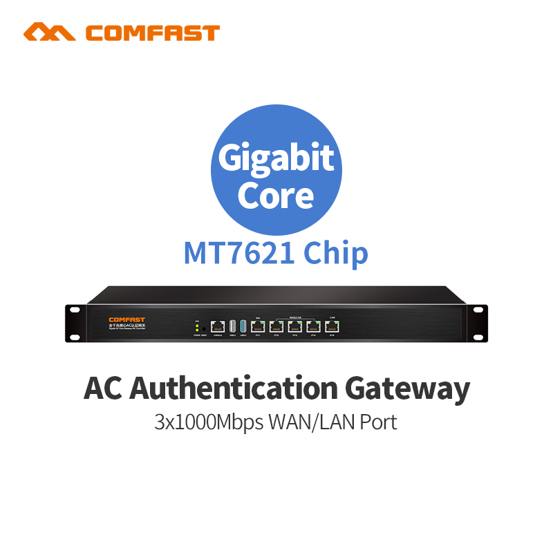 AC Gate Full Gigabit Routing Multi-WAN access wireless roaming manage the download speed wifi router Wifi load balancing router comfast cf ac200 full gigabit ac authentication gateway routing mt7621 880mhz core gateway wifi project manager 5 1000mbps ports