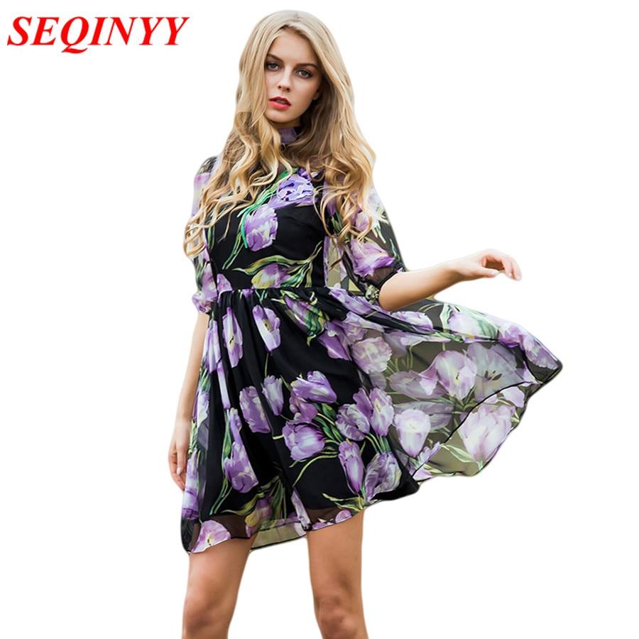 שמלת אופנה קיץ אביב נשים חדשות חצי שרוול פנס סגול פרחים סגולים מודפסים רקמת שמלת אונליין