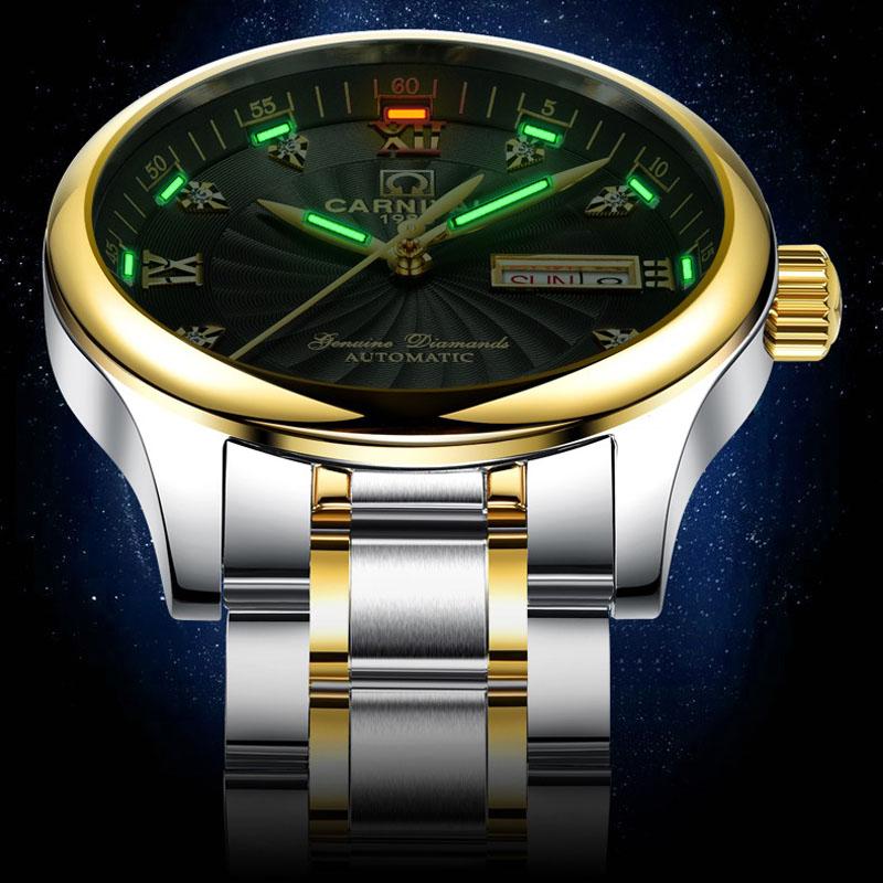 자체 발광 삼중 수소 가스 남성 골드 시계 자동 기계식 시계 남성 빛나는 손목 시계 스틸 럭셔리 브랜드 비즈니스 시계-에서기계식 시계부터 시계 의  그룹 1