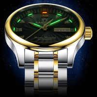 Selbst leuchtende tritium gas Männer Gold Uhr Automatische Mechanische Uhr Männlichen Leucht Armbanduhr Stahl Luxus Marke Business Uhren