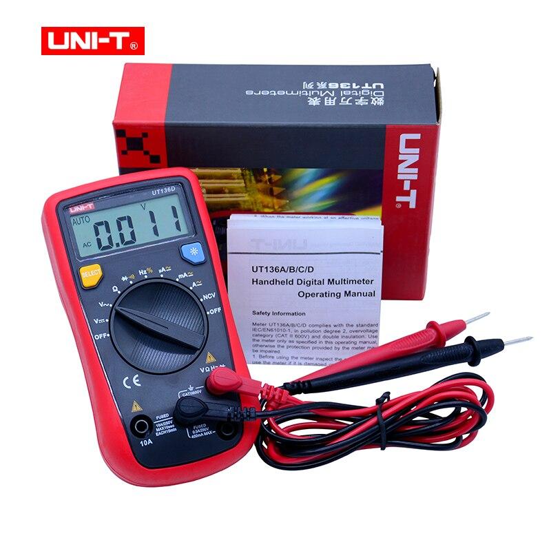 UNI-T UT136A UT136B UT136C UT136D Ручной цифровой мультиметр AC DC Вольтметр Амперметр Температура Multi Тестер измеритель емкости