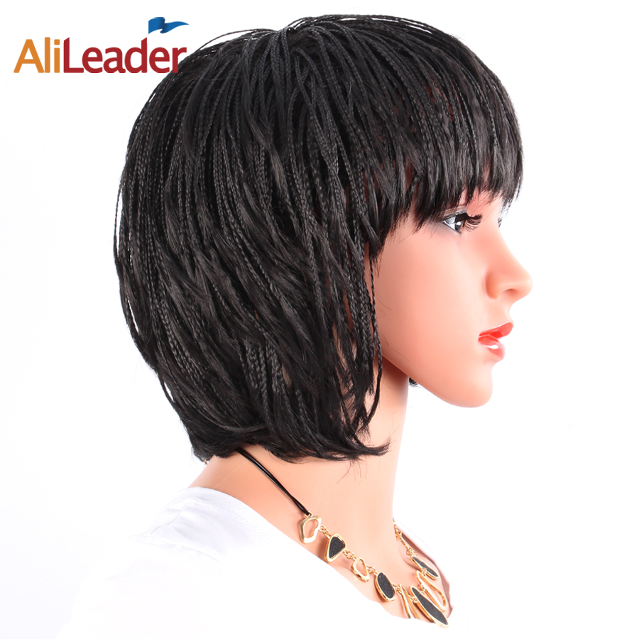 Alileader Short Synthetic Kanekalon Braided Box Braids Wig
