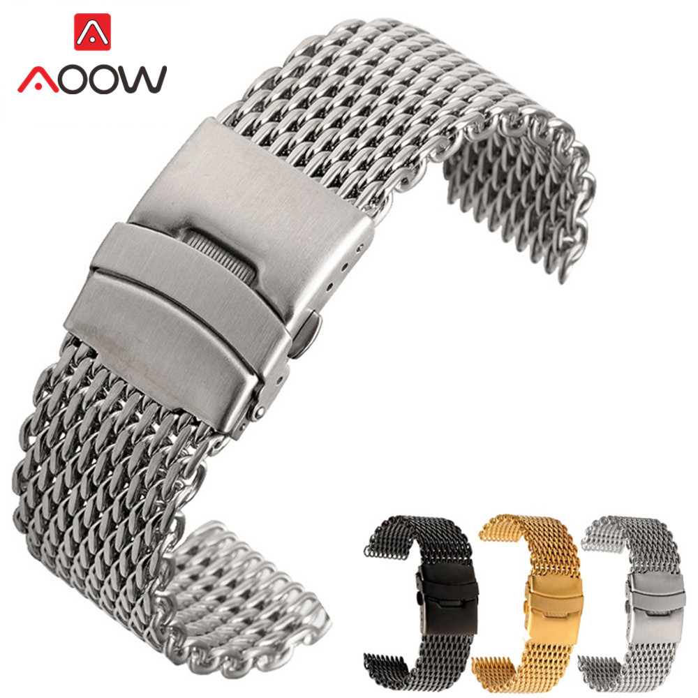 18mm 20mm 22mm 24mm High Quality Universal Milanese Watchband Stainless Steel Folding Buckle Bracelet Band Strap Accessories