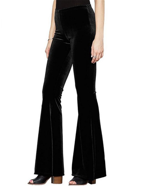 Женская Мода Бархат Клеш Высокая Талия Широкую Ногу Брюки Черный Синий Бордовый 2016