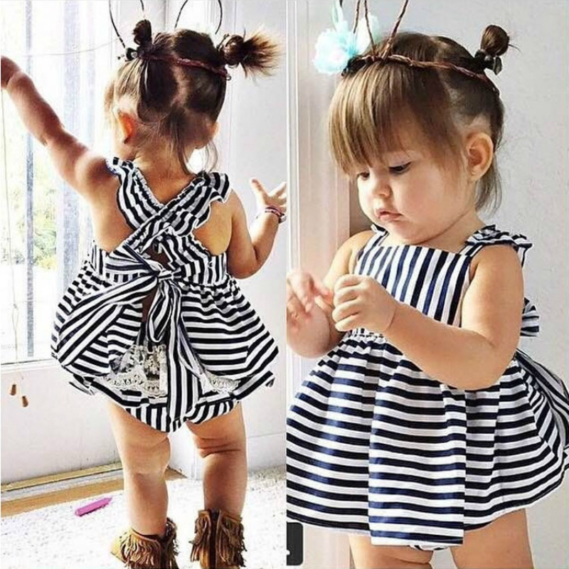 Hot sale Baby Girl Clothes Two Piece Set Cotton Wedding Suits Cross Striped Vest Skirts Lace And Sling Skirt Fold Princess Dress
