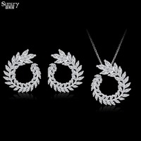 SIMIRY New Design Luxury AAA Zircon Olive Branch Shape Pendant Necklace Set For Women High Quality