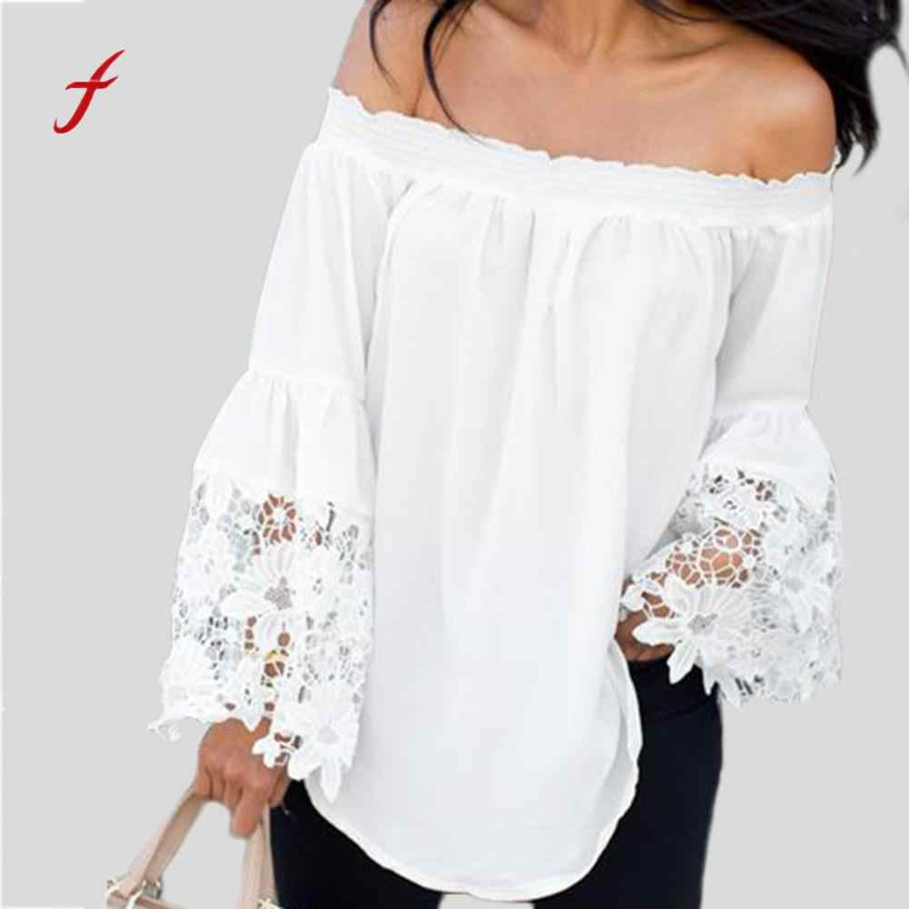 2018 Newest women clothing sexy Women White Lace Stitching Off Shoulder Flared Long Sleeves Blouse hot dropshipping