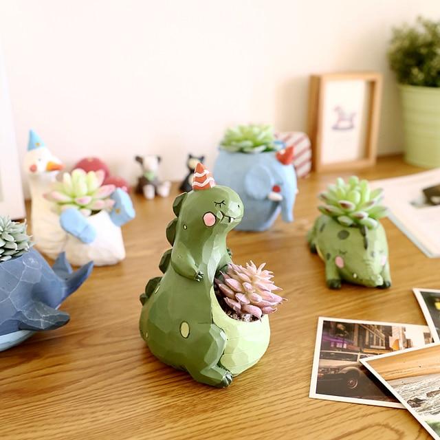 1Pc Resin Creative Succulent Plants Pots Animals Mini
