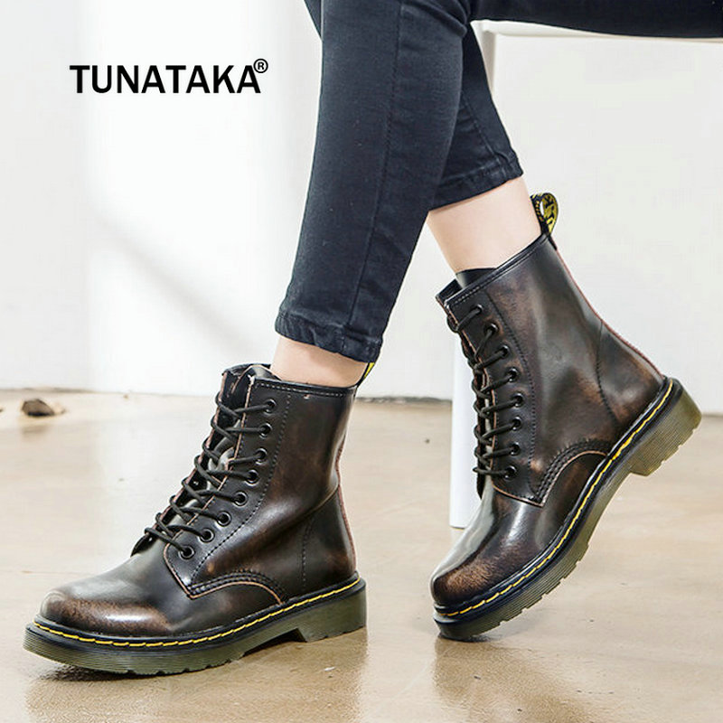 Women Boots Leather Women Low Heel Ankle Boots Platform Fashion Martin Boots Lace Up Combat Boots Couple Shoes Plus Size 43 2018 2017 new autumn winter shoes for women ankle boots genuine leather boots women martin boots lace up platform combat boots botas