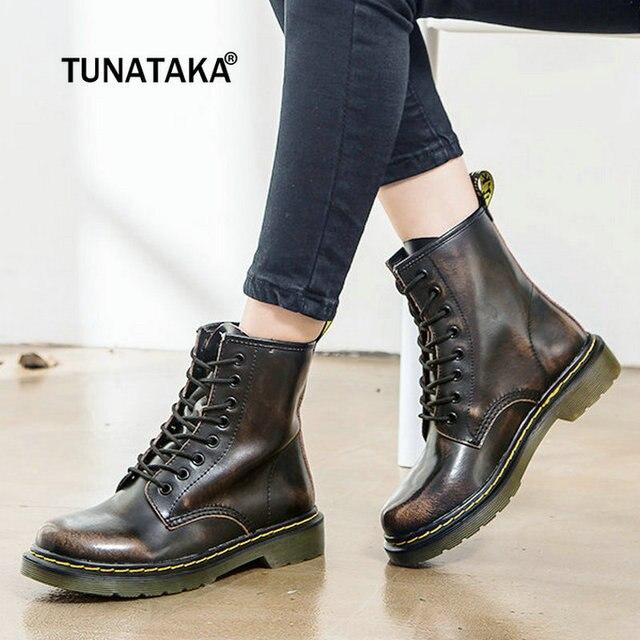 Women Boots Leather Women Low Heel Ankle Boots Platform Fashion Martin Boots  Lace Up Combat Boots Couple Shoes Plus Size 43 2018 d95309dfe3