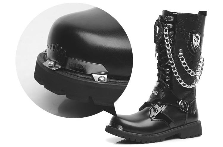 militar alta botas meados de bezerro metal