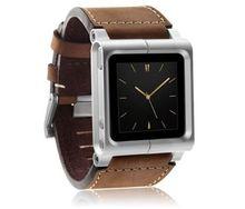 (Marrom) cobertura de couro alumínio para proteção de pulso, cobertura de pulseira para ipod nano 6 6g + protetor de tela grátis
