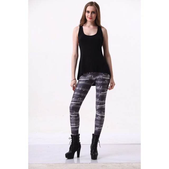 Spring Summer Thin Women Leggings New Fashion Sheet Music Notes Printed Sexy Leggings Cheap Wholesale Free Shipping