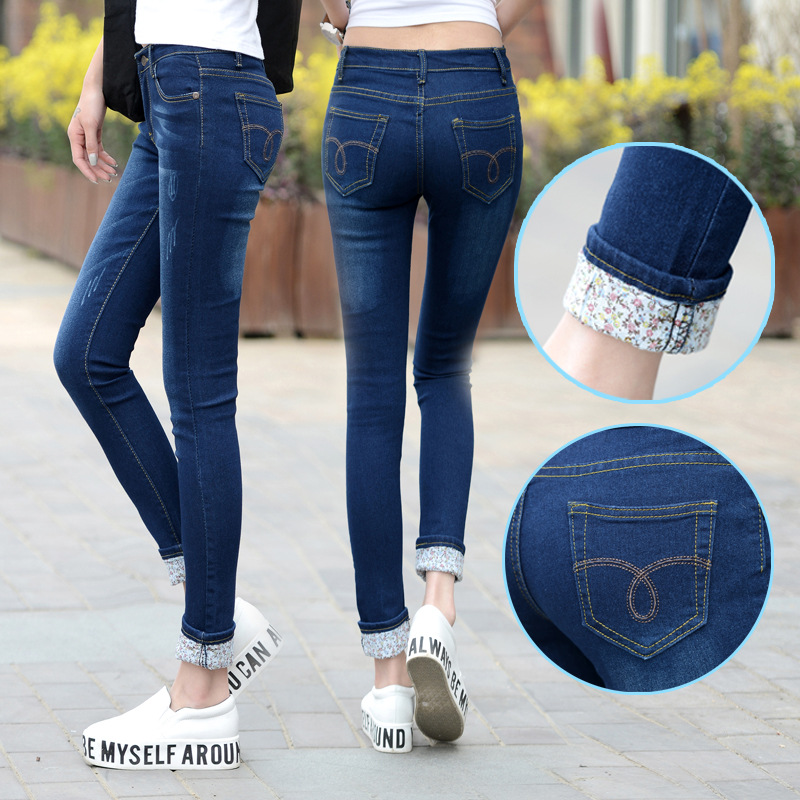 Plus Size 25-36 Jeans Women Two Cuffs Worn Jeans Female Casual Trousers Pencil Pants Jeans Woman High Waist Jeans Korean