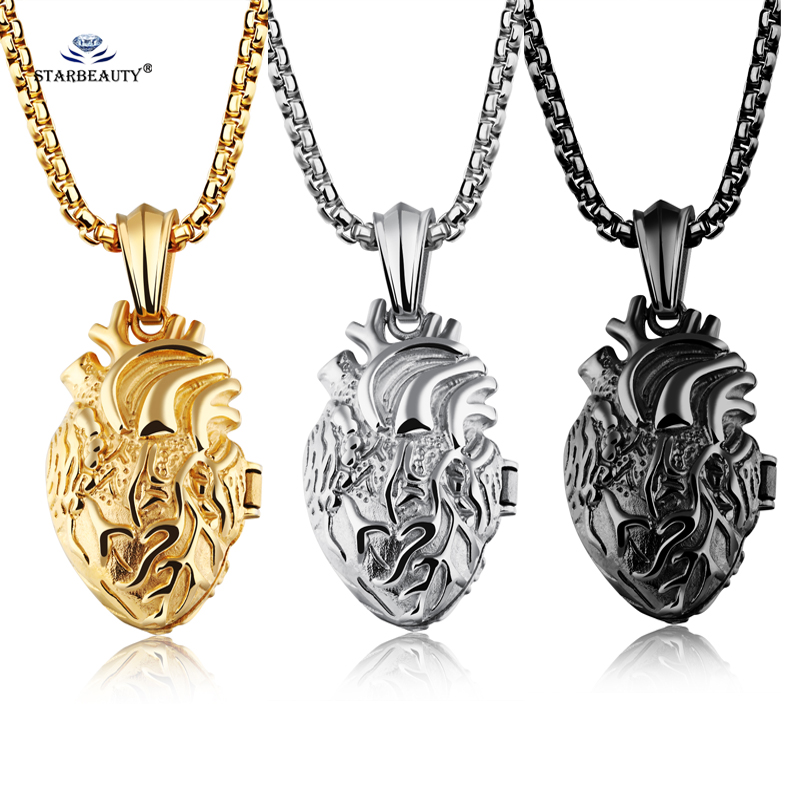 Starbeauty Openable Organ Heart Necklace Stainless Steel Long Necklace Women Heart Pendants Necklaces Men Jewelry Square Chain