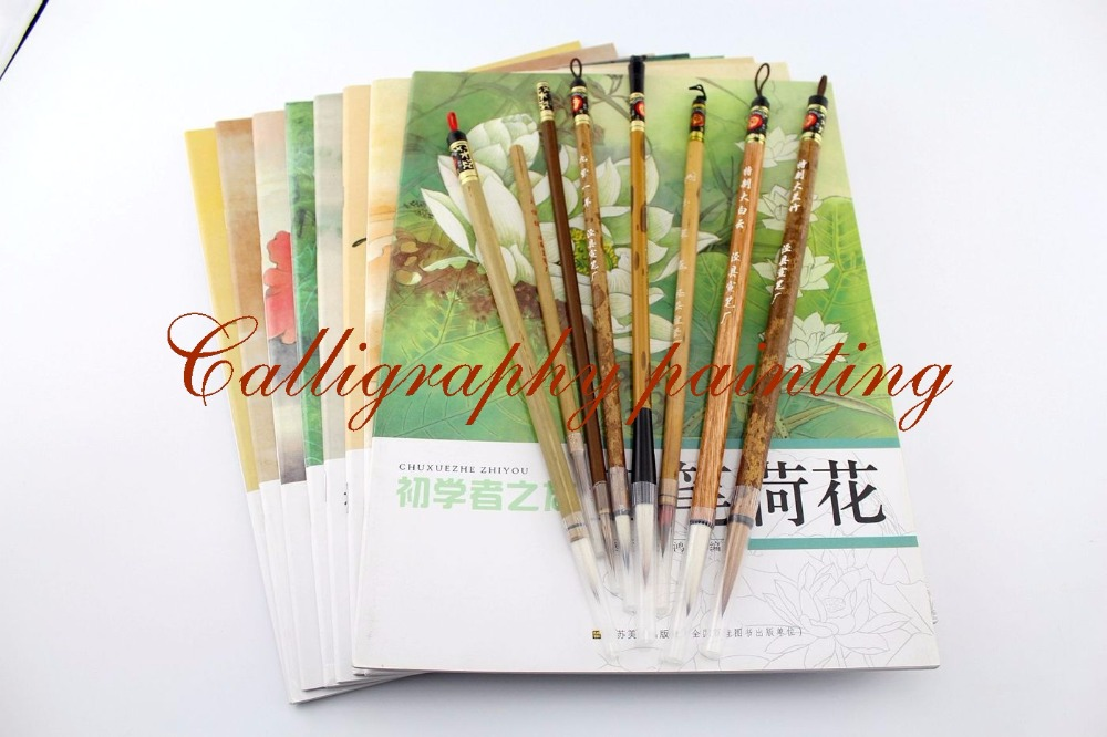Set 8 PC Painting Fine Line Gongbi Sumi-e Brushes +8 Pc Gongbi Painting Books pc 8