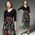 2017 Новый Женский Лоскутная Цветочные Шифона Dress Весна Лето Мода Элегантные Дамы V-образным Вырезом Повседневная Dress Vestidos Размер S-XL