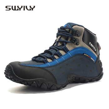 SWYIVY Hiking Shoes Men's Large Size High Top Genuine Leather 2018 Sport Shoe Outdoor Breathable Comfortable Climb Hiking Shoes