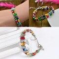 Hot Sale Ethnic Style Tibetan Silver Multicolor Jade Turquoise Bead Bracelet Ladies Handmade Jewelry Gift BL-0070