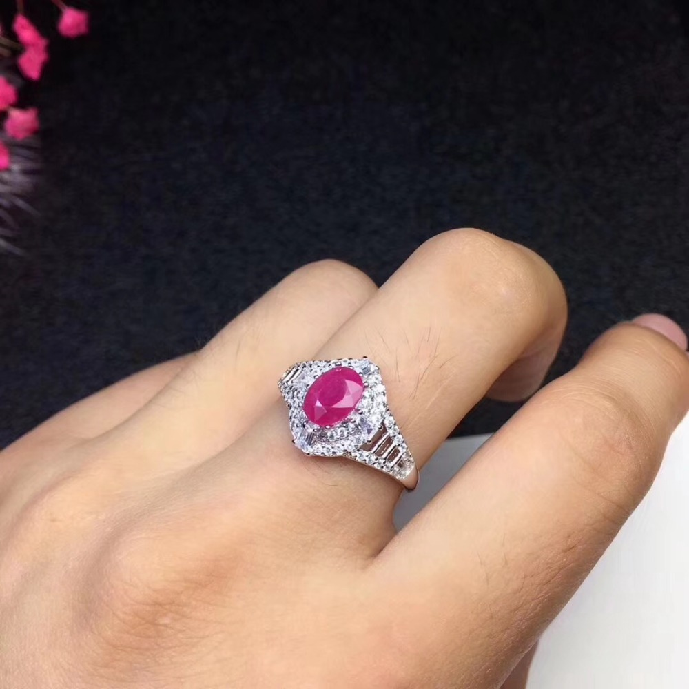 Natural real ruby Ring 925 sterling silver Free shipping 5*7mm gemstone