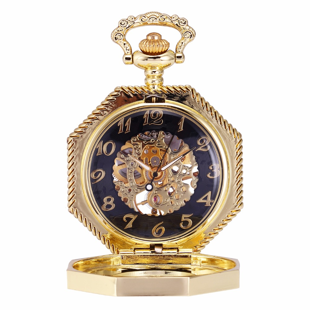 Luxury Golden Octagon Skeleton Hollow Case Hand Winding Movement Relogio Mechanical Pocket Watch Clock Chain Fob Pendant /WPK233