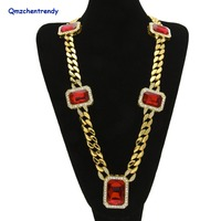 Hip Hop Miami Cuban Link Iced Out Fully Diamante Bling CZ Necklaces Hip Hop Cool Jewelry