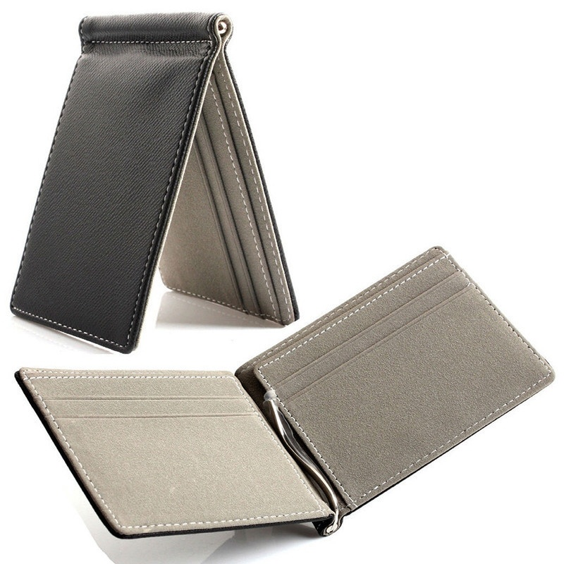 BEAU Faux Leather Men Wallet   Contract Color Simple Design Burnished Brand Men Bifold Wallets Grey