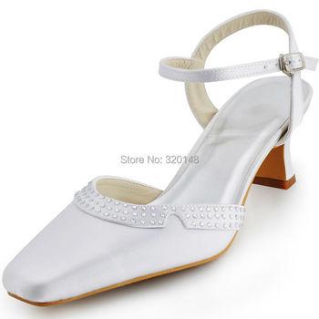 EP11033 Summer Shoes Women Wedding Bridal Square Toe Chunky Heel Buckle Rhinestone Satin lady prom party dress pumps White Ivory