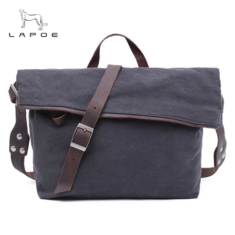 LAPOE New Man And Women Messenger Bags Female Canvas Casual Shoulder Bag Ladies Crossbody Bags for Small Hobos Designer Handbags japanese pouch small hand carry green canvas heat preservation lunch box bag for men and women shopping mama bag
