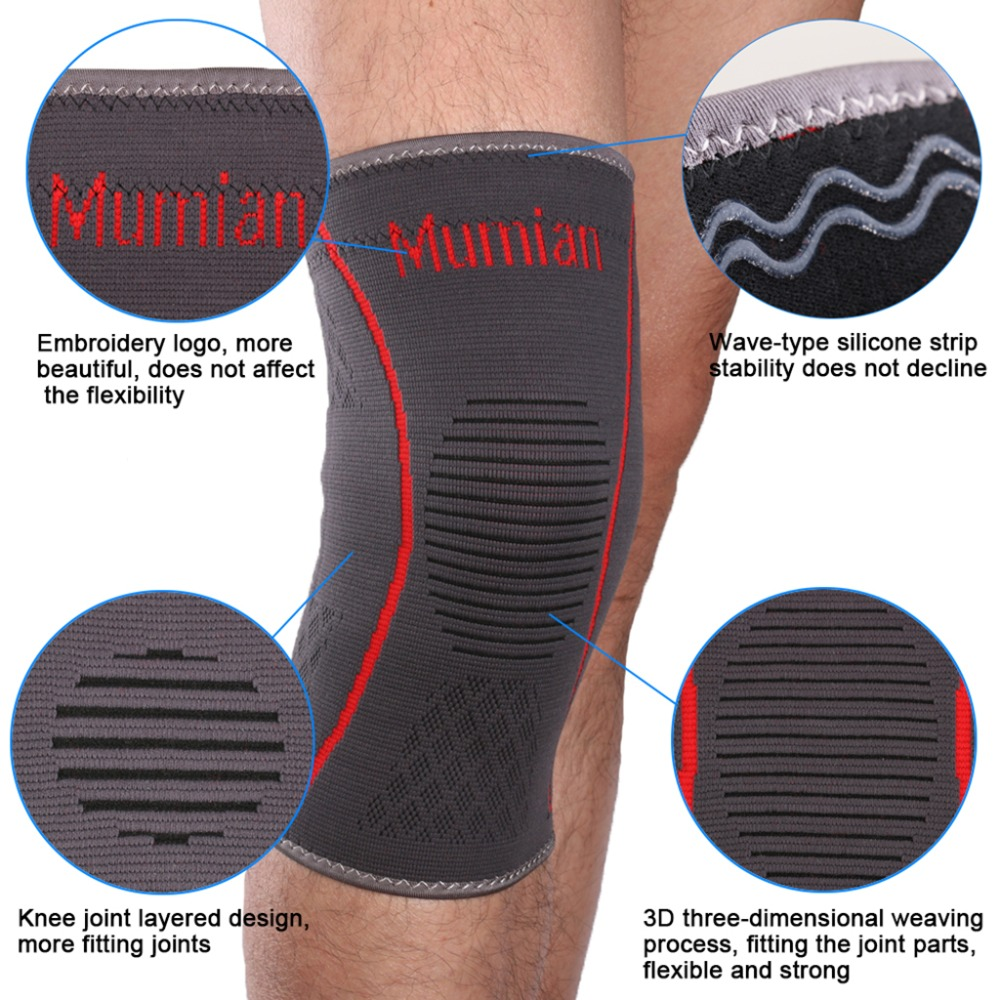 Fitness Running Red Silicone Anti-Slip Knit Sport Knee Sleeve Brace Guard Pad Protector