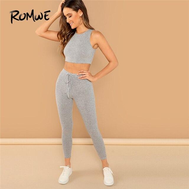 72fa4131471 Romwe Sport Grey Drawstring Heathered Crop Knit Tank Top And Tights Women  Jogging Set Autumn Gym Training Sportswear Suit
