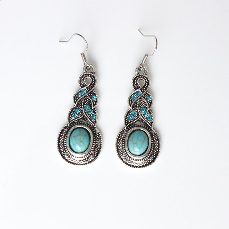 Long Earrings 2017 Europe and the United States new water drops retro pattern jewelry earrings female free shipping