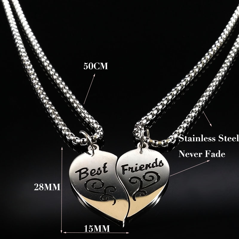 2019 Fashion Pair Stainless Steel BFF Necklace for Women Silver Color Best Friend Necklaces Pendants Jewelry collares N18084 in Pendant Necklaces from Jewelry Accessories