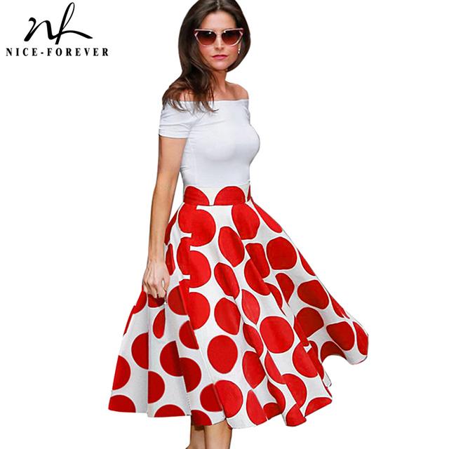 Nice Fashion Slash Neck Ladylike Vintage Charming Print Dot Off shoulder Party Ball Gown Formal Woman Dress A015
