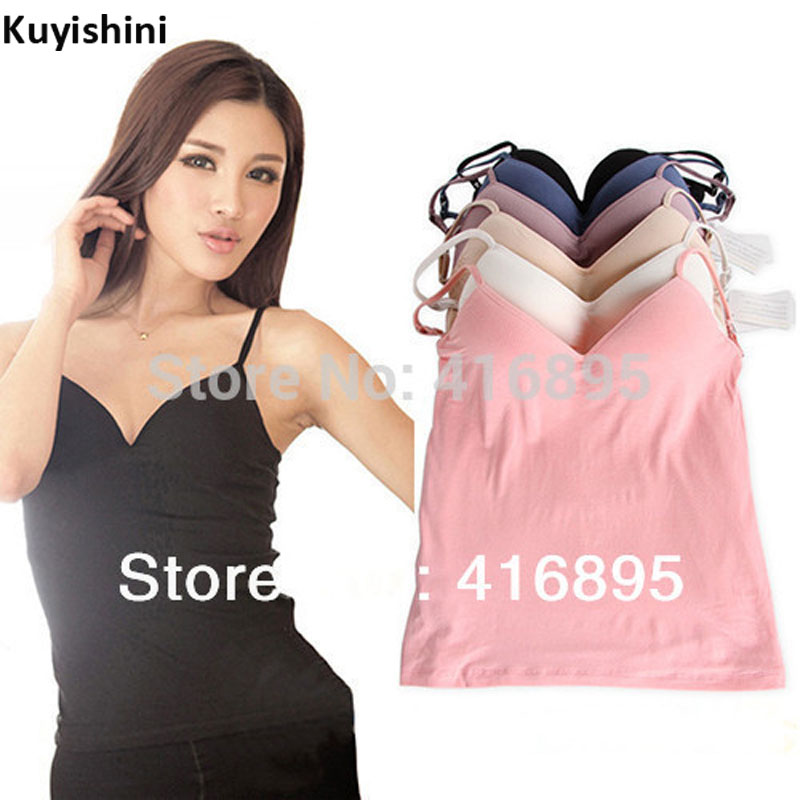 114e9b2da8 Buy strap built in bra padded tank top camisole and get free shipping on  AliExpress.com