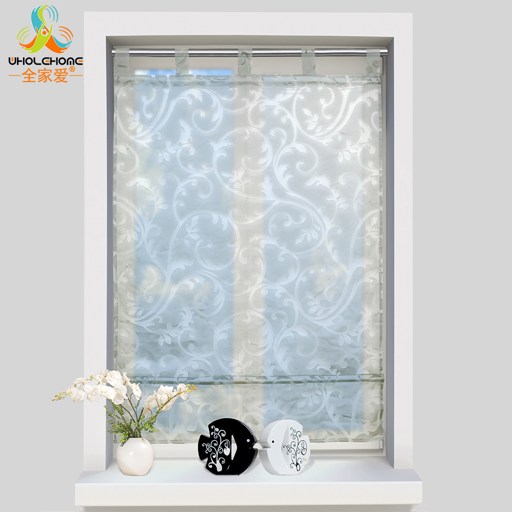 Roman Curtains Pastoral Floral Voile Tulle For the Kitchen Living Room Bedroom Tulle Window Curtains Polyester with Tubes ...