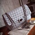 Jumbo мешок высокого качества женщины марка искусственная кожа Jumbo большой макси щитка сумка черный белый серебряные цепи посыльного плеча сумки мешок