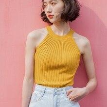 Summer Tops Women T Shirt Camisole Sleeveless Tank Top Strapless Knitting Sexy Streetwear Yellow White Orange
