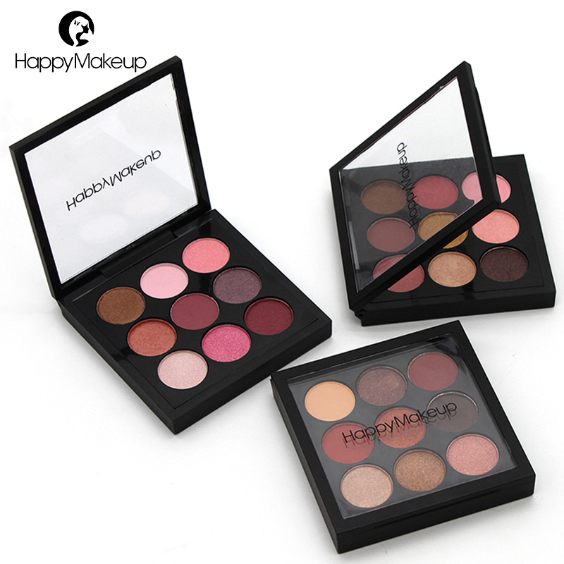 Happy Makeup Eyeshadow Palette Shimmer Matte Glitter Nude Natural 9 Color Smoky Eye Shadow Pigment Cosmetic Set Waterproof Brand