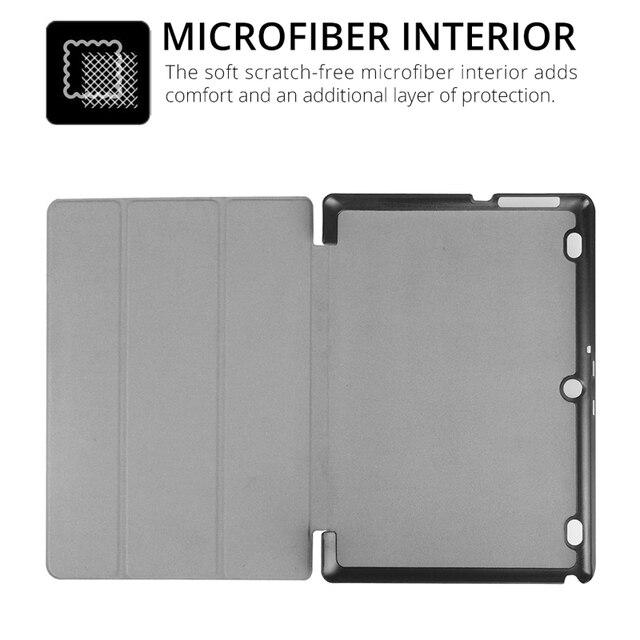 Slim Folding Flip Cover Stand PU Leather Case for Lenovo Tab 2 A10-30 A10-70 A10-70F A10-70L X30F 10.1 inch Tablet Case+Film+Pen 4