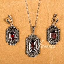 Jenia nueva llegada rojo colgante de cristal austriaco y pendientes juegos de joyería de plata tailandesa marcasita xs112