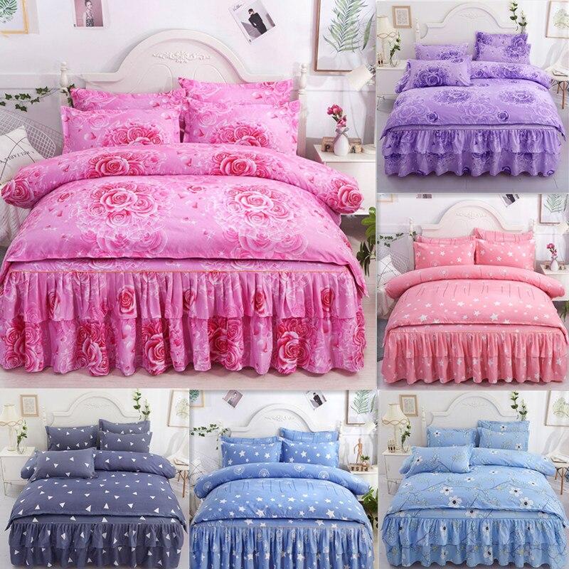 2019 New Printing Comforter Bedding Sets Family Set Bed Skirt Sheet Microfiber Bedclothes Bedspread Duvet Cover