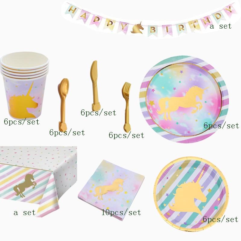 48 pièces/ensemble or licorne ensemble vaisselle jetable ensembles rose licorne papier guirlande gâteau Topper fête d'anniversaire fournitures