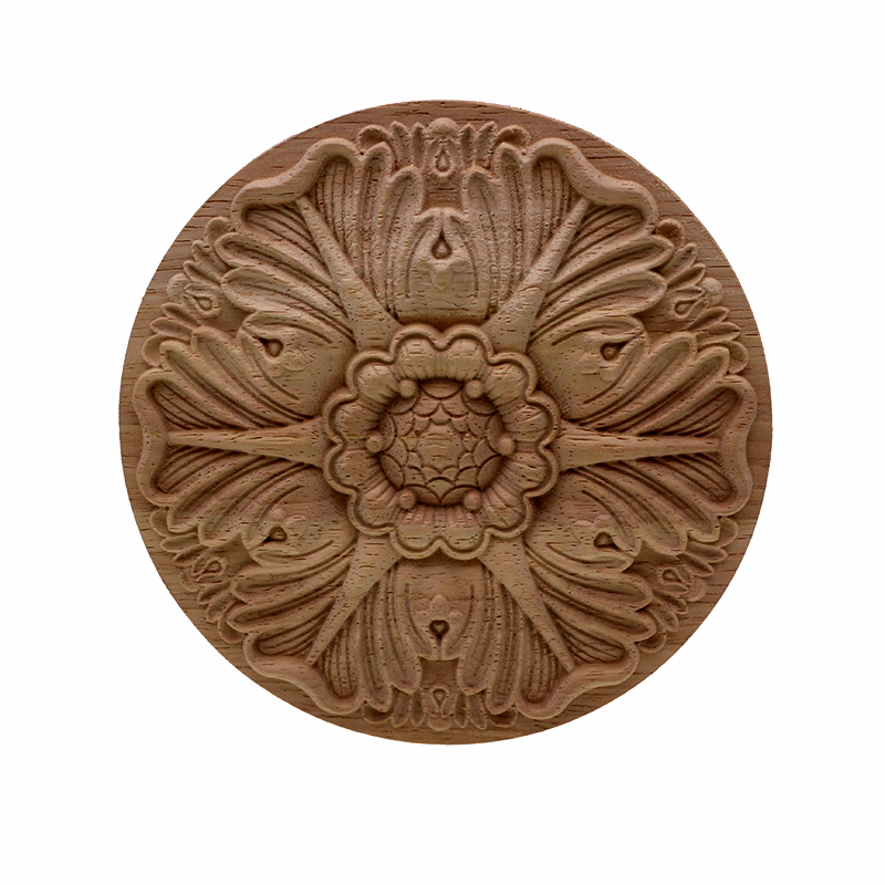 VZLX Round European Woodcarving Decal Home Decorative Wood Appliques Carved Applique Window Door Decor Wooden Figurines Crafts in Figurines Miniatures from Home Garden