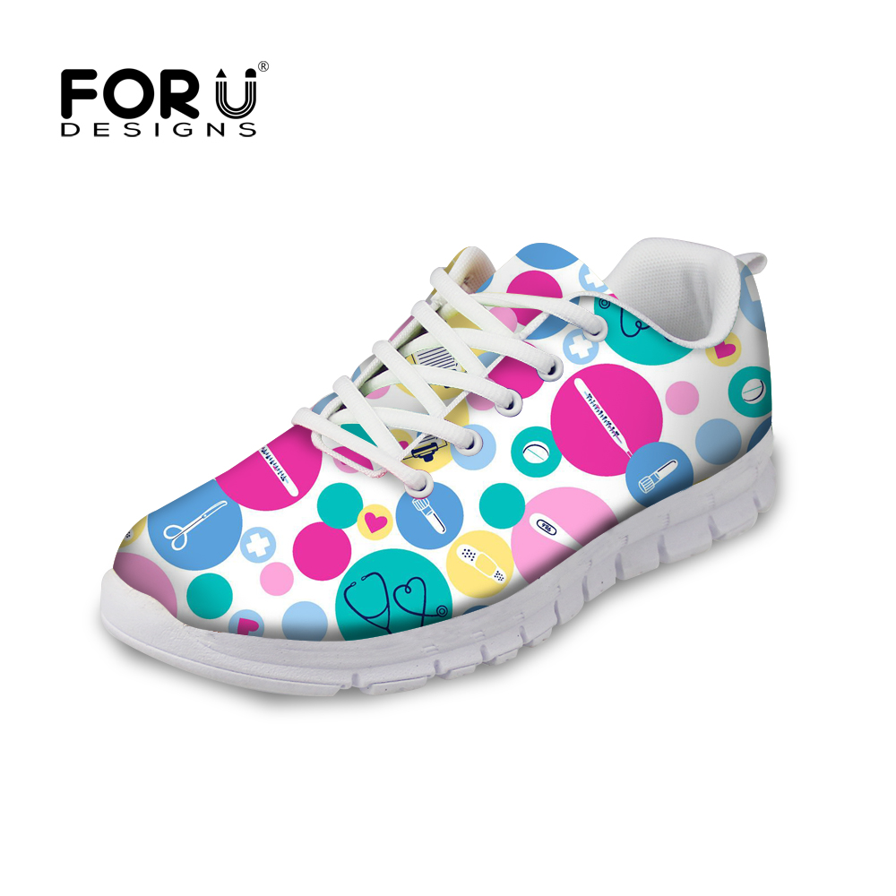 FORUDESIGNS Spring Comfortable Nurse Shoes Sneakers Women Cute Cartoon Nurses Printed Women's Flats Shoes Breathable Flat Female instantarts fashion women flats cute cartoon dental equipment pattern pink sneakers woman breathable comfortable mesh flat shoes
