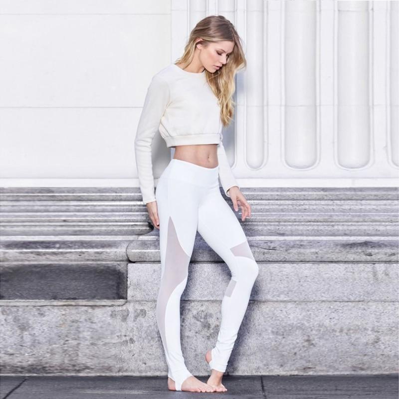 Oyoo High Rise Tummy Control Flexible Maille Côte De Yoga Leggings Femmes  de Noir workout Collants Blanc Fitness Leggings De Yoga Pantalon dans Yoga  ... 8aeca3be8ca